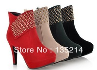 Free shippig 2013 hot sale Autumn and winter ultra high heels round toe nubuck leather boots