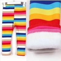 autumn  winter children baby girls clothing plus velvet Kids rainbow stripe pants  legging trousers 5pcs / lot Free shipping