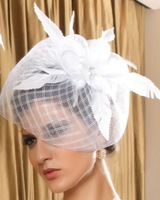 New 2013 Fashion Fascinator Flower Feather Ribbon Cocktail Hat Hair Accessories For Women Couture Headpieces Headdress WIGO0165