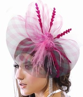 New 2013 Fashion Fascinator Flower Feather Ribbon Cocktail Hat Hair Accessories For Women Couture Headpieces Headdress WIGO0168