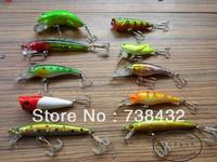 Luao ABS 3Deyes10Pcs/Lot  30mm-70mm 4g-15g Lure Bait Minnow Popper Vib Crank Fishing Lure Hard Bait Free Shipping