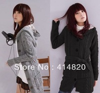 2013 women Long Sleeve Sweater with cap ladies cardigan sweater women's Hoodie Coat sweaters