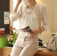 Free Shipping New 2013 Autumn Casual Chiffon Shirt Long Sleeve Lace Top Beige White Shirt Blouse Women Plus Size