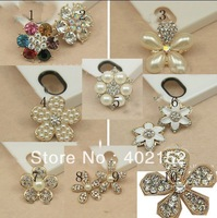 Free shippig MIX Style rhinestone button embellishment for hair accessories hair flower decoration mobilphone sticker 100pcs/lot