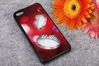 10pcs/lot diamond ring  Movable  4 color  EleAment Crystal Case Hard Back Cover Case for iPhone 5/4/4s Mix order Free Shipping