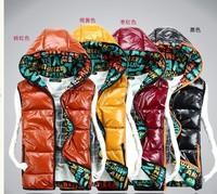 Free Shipping 2013 Fashion cotton down vest men and women , sleeveless jacket Hooded Glossy couple vest , Waistcoat