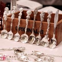 European vintage silver color Exquisite tea spoon yogurt spoon ice cream spoon coffee spoon 12pcs