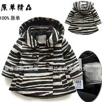 Free shipping Retail new 2014 Spring autumn baby clothing children hoodies coat girls zebra stripes teach kids jackets & coats