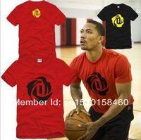 Free shipping 2014 new sale basketball t shirt Rose printed  t-shirt sports tshirt 100% cotton short sleeve t shirt 6 color