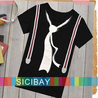 Retail Boys Summer Tshirts Fashion Tie Short Sleeve O-neck,Kids Wear Tops,Free Shipping  K0121