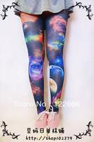 Freeshipping one pair Harajuku zipper amo multicolour pantyhose silk galaxy socks TDX-111