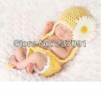 Orange with flower set Baby 0-6month Handmade Newbaby Photography Props Newborn Photo Infant Animal Beanie Caps Hats Knitted