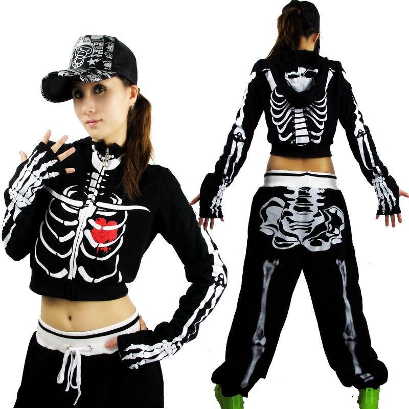 Women Sports Hip Hop Dance Jazz Skeleton Skull Hooded Jacket Crop Top Short Coat -inBasic ...