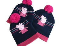 Free shipping wholesale 3pcs lot Cartoon Baby peppa pig winter cap Children hats & caps
