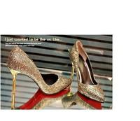 Stilletto sapatos shoes kvoll sapatos feminino 2014 fashion paillette ol gold pointed toe thin heels high-heeled women's pumps