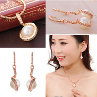 Hot Selling! Romantic Luxury Pearl Necklace Earrings Jewelry Set 18K Gold Plated rhinestone Jewelry Bridal Sets free shipping