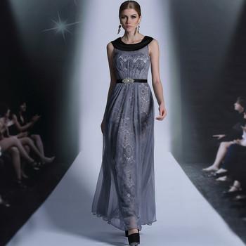 DORISQUEEN Free shipping Tencel grey color round neck Beaded Sashes zuhair murad evening dresses