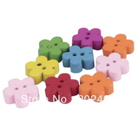 100pcs Colorful Flowers Flatback Wooden Buttons for Kids baby DIY Sewing Craft Scrapbook NEW