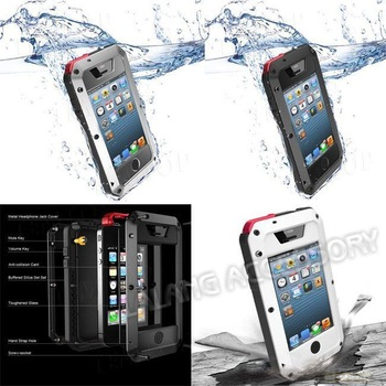 1PC New 2013 Fashion Design Water/Shock/Dust Glass Aluminum Metal Hard Cases Proof Gorilla Case 3 Colors For iPhone 5 730234