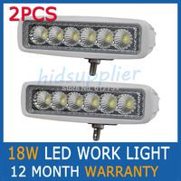 2PCS 18W White FLOOD BEAM LED WORK OFFROADS LAMP LIGHT TRUCK BOAT 12V 24V 4WD 4x4 Driving Lights