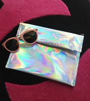 Fashion Laser  Handbag Silver color Message Bag Cute Hologram envelope bag caught