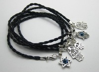 100Pcs Mixed Kabbalah Hamsa Hand Charms Black Leatheroid Braided String Bracelets K01139