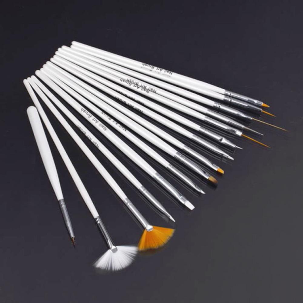 15Pcs Nail Art Polish Painting Draw Pen Brush Tips Tools Set UV Gel Cosmetic Wholesale White(China (Mainland))