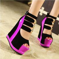 Stilettos Zapatos sapatos feminino women pumps2014 scarpin high heels sexy wedges fashion color block decoration double platform