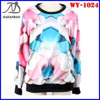 Autumn Fashion Women Hoody Colorful Pills Long Sleeve3D Printed Sweatshirts Crew Neck Black Milk Sport  Women Suit WY-1024