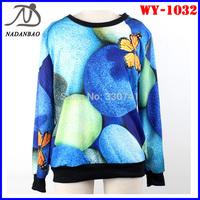 Autumn Fashion Women Hoody  Blue Candy Butterfly 3D Printed Sweatshirts Long Sleeve Loose Sport Women Suit WY-1032