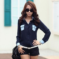 4XL Plus Size Long Sleeve Women Top Shirt Blouse New 2013 Ladies Two Pockets Design Camisas