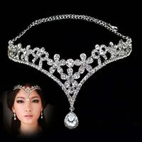 Wedding tiara crown headband Diadema Adorno Tocado Novia Strass coroa The bride Tiara diademahair crystal necklace crystal bride