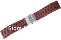 Brown 24mm SOFT RUBBER STRAP SPORT DIVER WATCH BAND Fits ROLEX and ALL