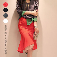 Spring and autumn slim hip slim cloth cotton dovetail fish tail skirt involucres ruffle bust skirt