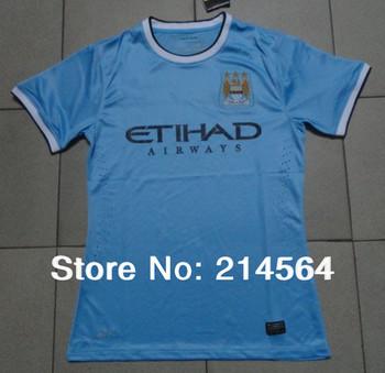 Top Thailand Quality fans version 2013/14 Manchester City home blue soccer jersey 2014 Manchester City jersey Size: S/M/L/XL