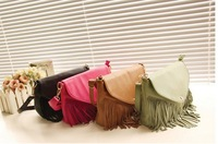 Punk Tassel Fringe Womens Fashion pu Leather handbag Shoulder Bag brown Women's Tote bag 5 color
