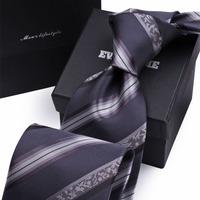 High Quality Nano Waterproof Commercial Arrow Type Gravatas Men Tie Grey Stripe Brand Neckties Ties for Men SALE Promotion