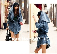 Free shipping 2013 Newest super star High Quality Women's cool Denim Coat Hoodie Coat Hooded Outerwear Jeans Jacket