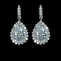 New Pear Made With Swarovski Cubic Zirconia Diamond with micro CZ Surround Wedding Drop Earrings ( Niceter JS021) Free Shipping
