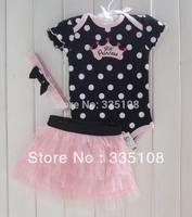 Retail Hot sale Baby girls 3 Piece Suits short Romper +Tutu Skirt + Headband Polka-dot baby summer clotheing girls skirt set