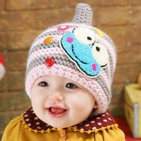 New Arrival Cartoon Frog Winter Knitted Baby Hats Kids Beanie Child Ear Protector Warm Caps For Baby 3-36 Months Free Shipping