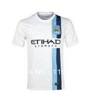 13/14 Manchester City 3rd champions league soccer jersey AGUERO best thai quality Player Version soccer uniforms embroidery logo