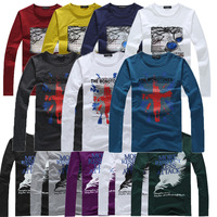 Free shipping 2013 cheap cotton mens long-sleeved t shirt fashion men's clothing M-XL