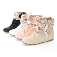 New  2013  fashion Winter boots women snow boots bow on cances elevator flat  ankle boots gentlewomen shoes woman