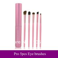 Wholesale Best Quality Mini 5 pcs Makeup Eyes Brushes Set Cosmetic make up Eyeshadow Brush Animal Hair with Pink Cylinder case