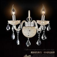 Free Shipping Bedroom Glass wall lamp modern single-head bedside lamp k9 crystal Lights wall mounted light 9805-2