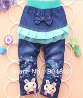 free shipping new arrival cartoon  girl's jeans children autumn jeans children's pants wholesale girl pants 1lot=4pcs