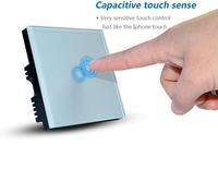 Best Price  50~60Hz AC 110~240V EU/UK Standard 1 Gang Designer Glass 1 Gang touch light switch