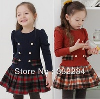 13 Autumn Korean version girls tartan plaid long-sleeved dress / children dress QZ59