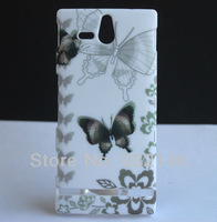 New Grey Butterfly Flower SKIN CASE COVER FOR Sony Ericsson Xperia U ST25i + Screen